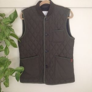 Ben Sherman quilted Vest army green thin puffer